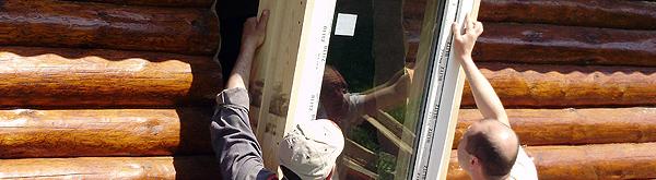 Окна в деревянном доме -фото