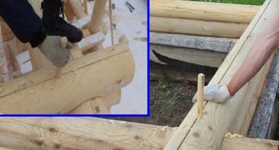 Баня из бревна, деревянные нагеля лиственных пород дерева - фото