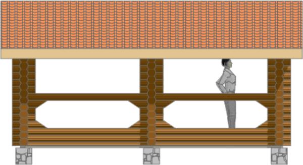 Фасад оцилиндрованной беседки - фото