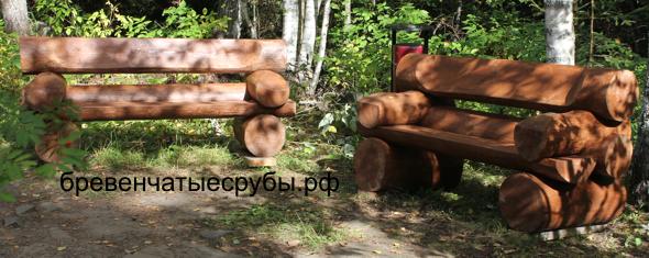 Бревенчатые скамейки -фото
