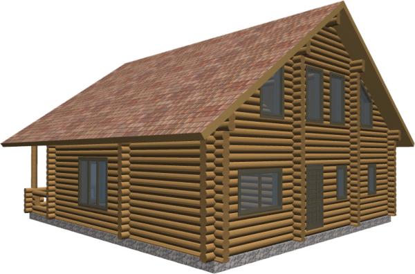 Перспективный вид дома с тыльной стороны - фото