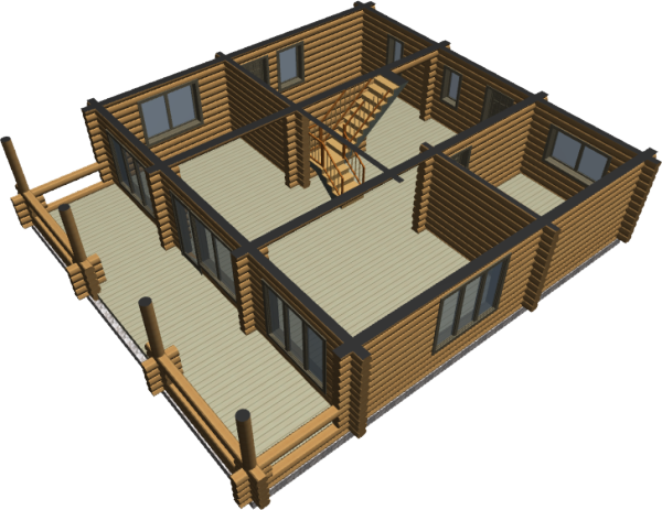 Срез дома - первый этаж - фото