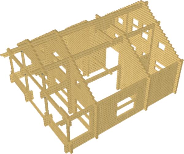 Сруб дома из оцилиндровки 3д - фото