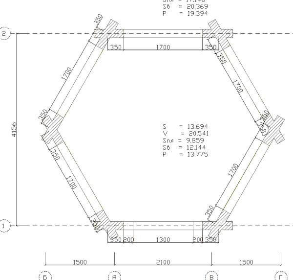 План шестигранной беседки - фото