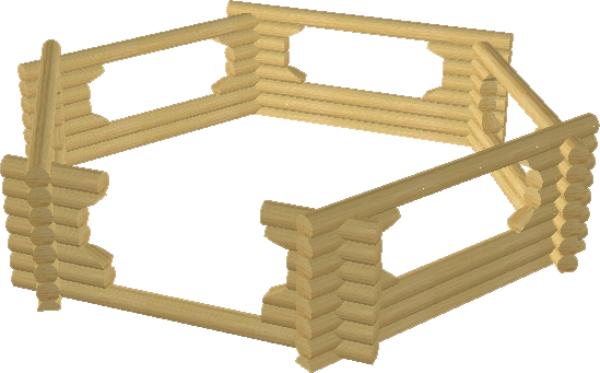 Сруб шестигранной беседки - фото