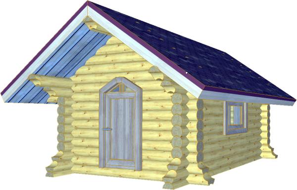 Детский домик из бревна - фото