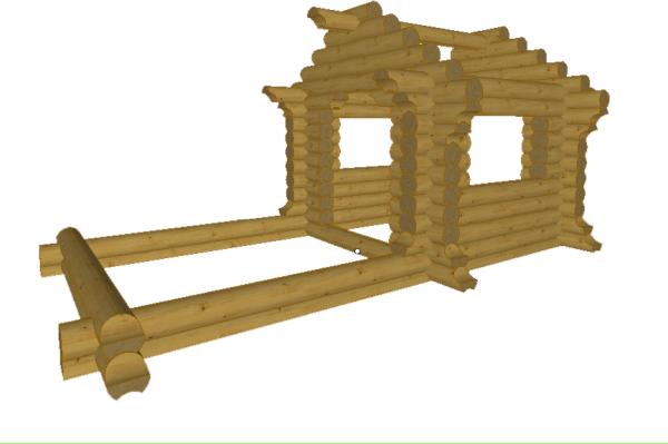 Сруб детского бревенчатого домика - фото