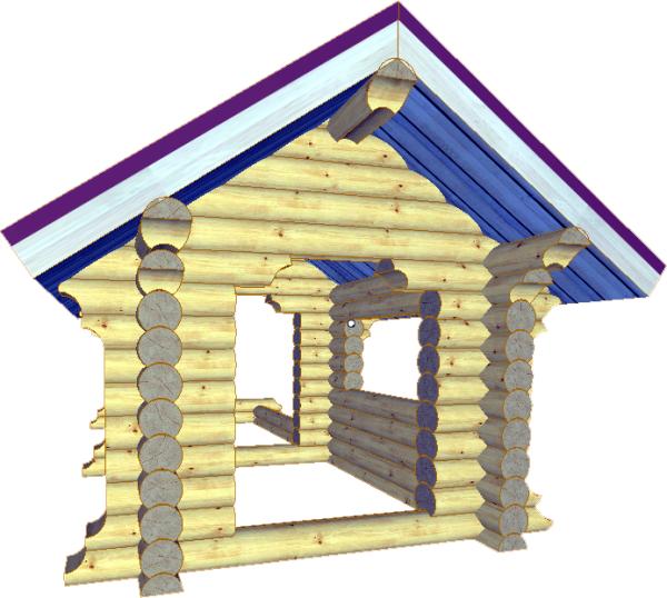 Детский бревенчатый домик - фото
