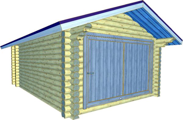 бревенчатый гараж из оцилиндровки