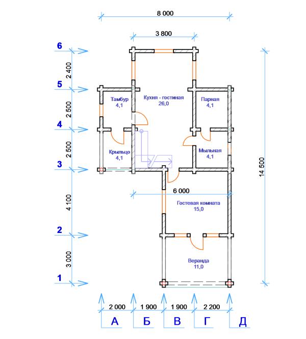 Дом-баня - план первого этажа - фото