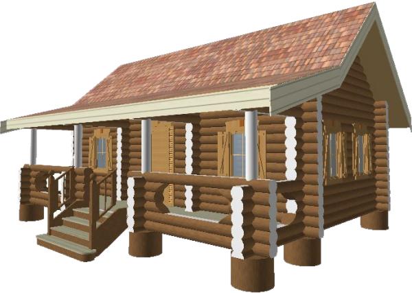 Модель бревенчатого дома -фото