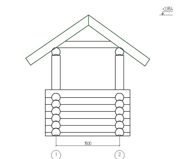 Фасад 2 сруба из оцилиндровки колодца - фото
