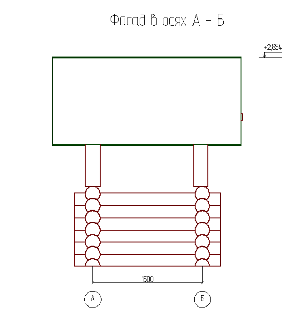 Фасад бревенчатого сруба колодца - фото