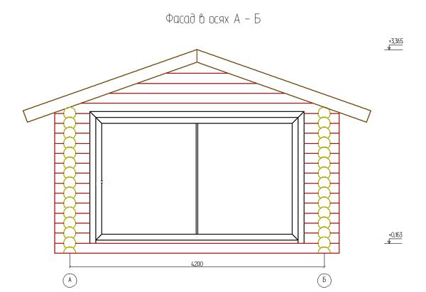 Фасад сруба гаража