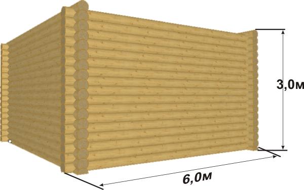 Сруб 6х6 из оцилиндрованного бревна 240 с пазом 140 мм - фото