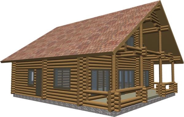 Перспективный вид дома из оцб260 - фото