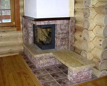 печное отопление в бревенчатом доме - фото