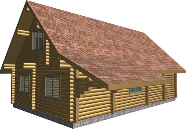 3д вид дома с тыльной стороны - фото