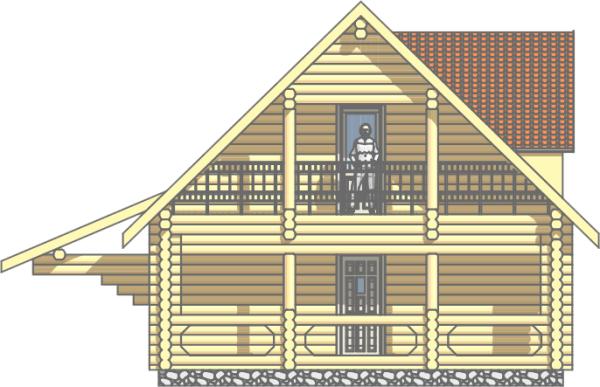 Фасад дома из оцилиндрованного бревна «Добрыня» - фото