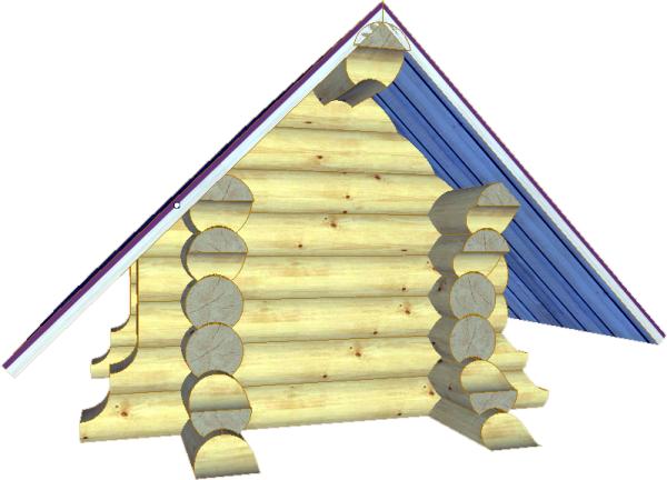 Малая собачья будка из оцилиндрованного бревна - фото