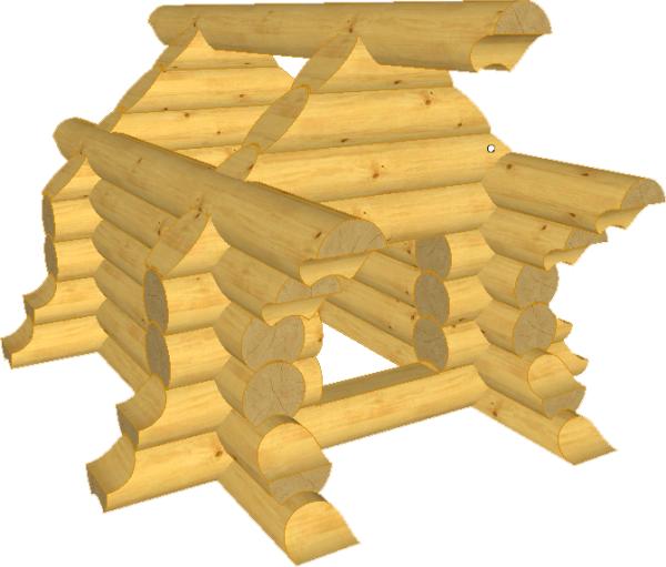 Сруб из оцилиндрованного бревна собачьей будки - фото