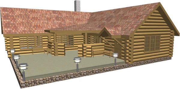 Перспективный вид бани со стороны террасы - фото